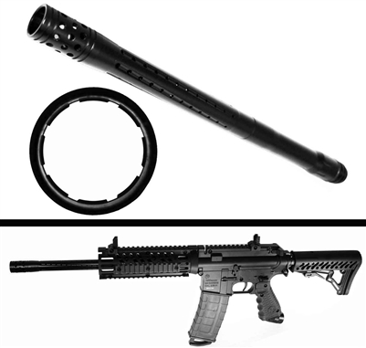Trinity barrel for tippmann tmc 16 inches long aluminum black paintballing woodsball equipment.